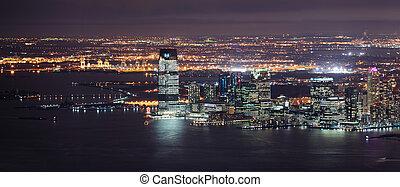 город, панорама, йорк, ночь, новый, манхеттен, джерси