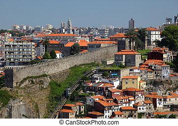 город, старый, португалия, oporto, над, -, ribeira, посмотреть