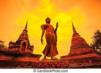 город, тому назад, старый, sukhothai, парк, silhouettes, исторический, год, таиланд, 800
