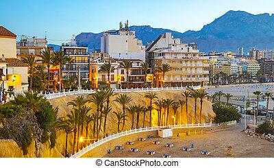 город, benidorm, испания, линия горизонта, курорт