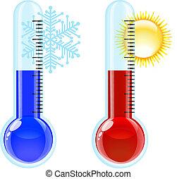 горячий, холодно, icon., термометр