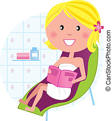 гостиная, женщина, relaxing, &, оздоровительный, spa:, стул