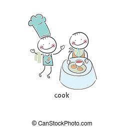 готовить, restaurant., illustration., visiting