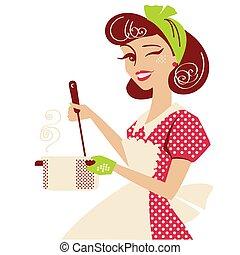 готовка, платье, isolated, вверх, room., красный, ретро, вектор, кухня, марочный, стиль, суп, штырь, белый, домохозяйка, ее, иллюстрация
