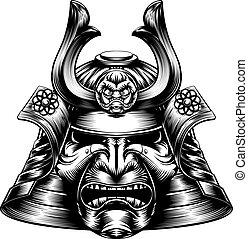 гравюра на дереве, самурай, маска, стиль