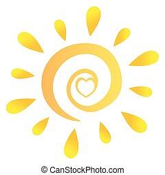 градиент, сердце, абстрактные, солнце