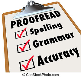 грамматика, контрольный список, буфер обмена, написание, читать корректуру, точность