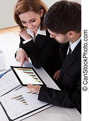 график, colleagues, discussing, два, бизнес