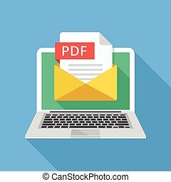 графический, блокнот, вектор, design., pdf, портативный компьютер, file., иллюстрация, document., файл, длинный, elements, квартира, эл. адрес, творческий, современное, конверт, тень, прикрепление, concepts.