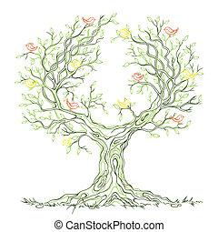 графический, дерево, ветвистый, вектор, зеленый, birds