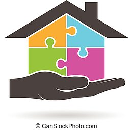 графический, дом, головоломка, pieces, вектор, дизайн, logo.