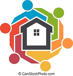 графический, люди, group., realtors, вектор, дизайн, логотип, оригинал, ассоциация, design.