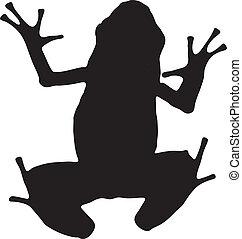 графический, силуэт, яд, дротик, вектор, frog., лазурь