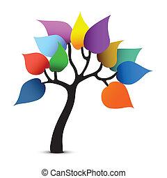 графический, цвет, дерево, фантазия, вектор, design.