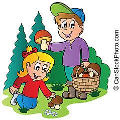 грибы, picking, kids, вверх