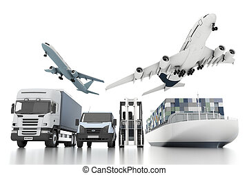 грузовой, концепция, широкий, мир, транспорт, 3d