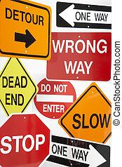 группа, дорога, знаки
