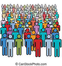 группа, толпа, люди, большой, colors, социальное, многие