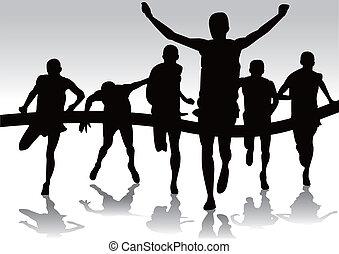 группа, runners, марафон