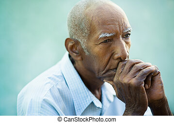 грустный, портрет, человек, старшая, плешивый