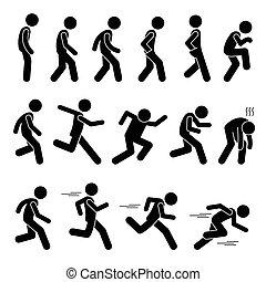 гулять пешком, бег, postures