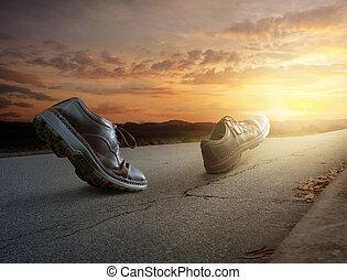 гулять пешком, ботинки