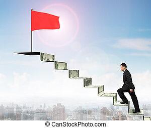 гулять пешком, деньги, флаг, бизнесмен, лестница, боковая сторона, красный, посмотреть