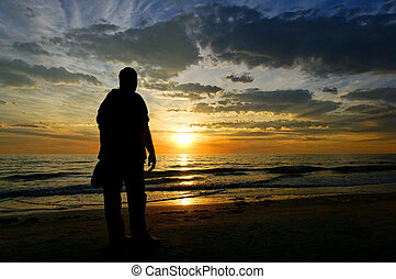 гулять пешком, закат солнца