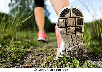 гулять пешком, лес, exercising, бег, приключение, ноги, или