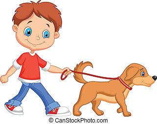 гулять пешком, милый, мальчик, мультфильм, собака