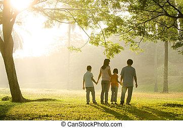 гулять пешком, парк, семья