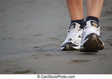 гулять пешком, пляж, человек
