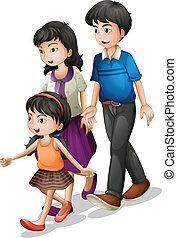 гулять пешком, семья