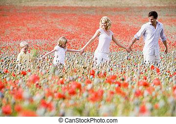 гулять пешком, семья, поле, держа, руки, мак, улыбается
