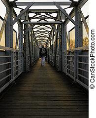 гулять пешком, симметрия, трек, над, посмотреть, пешеходный мост, железнодорожный, человек, sunset.