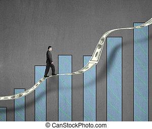гулять пешком, тенденция, деньги, диаграмма, рост, бизнесмен