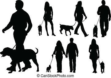 гулять пешком, dogs, люди