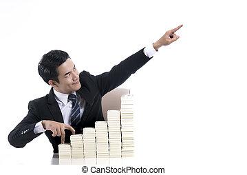 гулять пешком, pointing, ступенька, молодой, вверх, высокая, палец, бизнесмен, рука, вверх