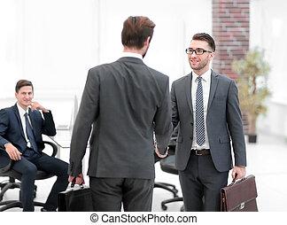 два, handshaking, businessmen, по рукам, поразительный, после, большой