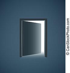 дверь, комната, легкий, темно, белый, открытый