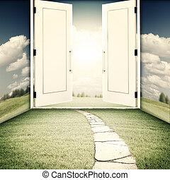 дверь, sci-fi, backgrounds, религия, другой, мир