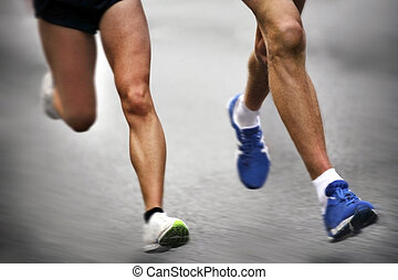 движение, -, марафон, runners, размытый