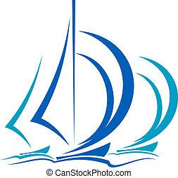 движение, sailboats, динамический