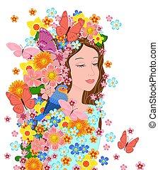 девушка, ваш, eyes, закрыто, цветы, ее, дизайн, мода