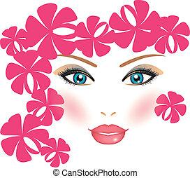 девушка, вектор, флорида, иллюстрация