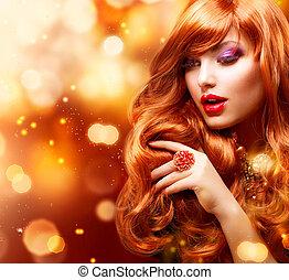 девушка, волосы, мода, portrait., волнистый, золотой, красный