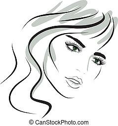 девушка, дизайн, face., красота, elements.