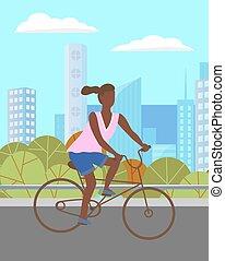 девушка, женщина, верховая езда, велосипед, park., зеленый, персонаж, темно, лето, кожурой, дорога