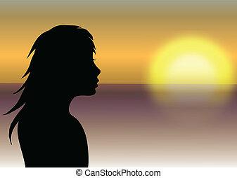 девушка, закат солнца