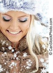 девушка, зима, snowflakes
